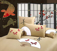 New Orientsense Oriental Fan KING Size Quilt Doona Cover Set - 350TC100% Cotton
