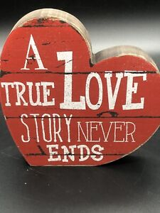 """Heart Valentine's Day Sign Wood Red Vintage Inspired Decor 6"""" True Love Story"""