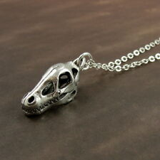 Silver Dinosaur Fossil Necklace - 3D Dino Skull Skeleton Charm Jewelry NEW