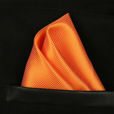 (T06) New Orange Solid Men Silk Pocket Square Hanky Wedding Party Handkerchief