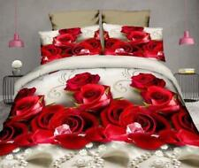 3D Pearl Red Rose Floral Wedding Bedding Set Sheet Duvet Cover Pillowcase
