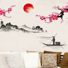 Chinese Ink-wash Floral Boat Painting Vinyl Wall Sticker Decal Home Art Healthy