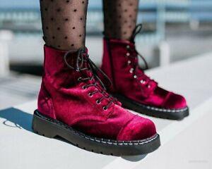 Burgundy Velvet Anarchic Boot
