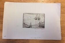 George Demont Otis American Artist Copper Engraving The Derelicts  Signed!