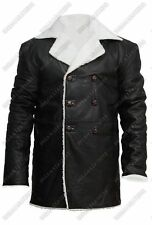 Shearling Men's Faux Fur WW2 Flying Vintage Warm Real Leather Jacket Trench Coat