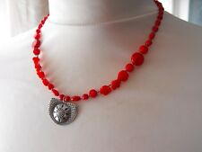 925 STERLING SILVER carved FLOWER NECKLACE CORAL gemstone & glass beads