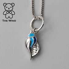 Seashell Pendant Necklace 925 Sterling Silver Enamel Ocean Beach Sea World Charm