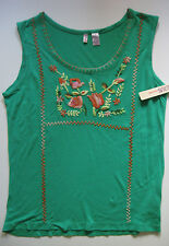 VINTAGE BILL BLASS JEAN WEAR SIZE S NWT 100% VISCOSE  GREEN EMBROIDERED TANK TOP