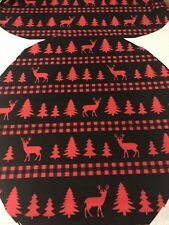 New Toilet Lid Tank Lid Cover Set Holiday Pine Trees Reindeer Rustic Cabin
