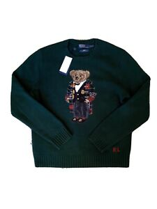Polo Ralph Lauren Kith Holiday Toggle Coat Bear Crewneck Sweater, Green Size L