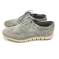 Cole Haan ZeroGrand Wingtip Shoes Womens US 8.5B Gray Suede Oxford Lace Up Euc