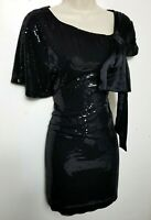 KAREN MILLEN SCALED DRESS GOWN WITH BOW UK 10 BLACK SILK TRIMS EVENING PARTY