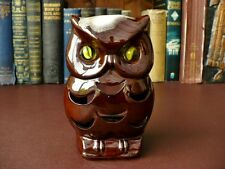 Vintage Pottery Owl Tea Light Holder/Night Light - Marble Eyes