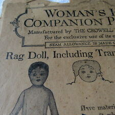"""ANTIQUE RAG DOLL SEWING PATTERN W/FACE TRANSFER Primitive 18"""" VICTORIAN 10 CENTS"""
