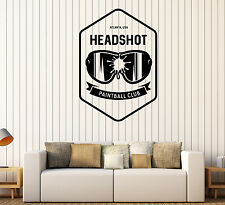 Wall Vinyl Decal Mask Paintball Funny Signboard Recreation Club Decor z4802