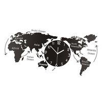 Wall Clock Creative Acrylic 3D World Map Wall Clocks Glow in Dark Office Bedroom Living Room Decorative