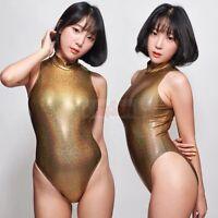 LEOHEX 2019 Sexy Satin Glossy Body Suit High Cut One Piece Women's Swimwear