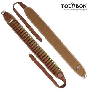 Shooting Cartridges Belt Ammo Carry Shotgun Shell Holder Canvas Leather-TOURBON