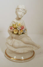 MARCOLIN CAPODIMONTE BISQUE PORCELAIN FIGURINE  - BOY ON PEDESTAL WITH FLOWERS