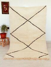 "Handmade Beni Ourain Rug Carpet 3'2""x4'9 Authentic Moroccan Rug Berber White Rug"