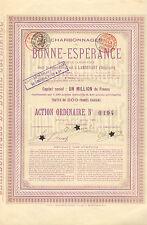 Charbonnages de Bonne-Esperance SA, accion, Lambusart, 1898