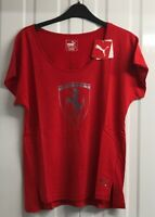Puma Womens Ferrari Big Shield T-Shirt, Rosso Corsa, UK 10 EU 36, BNWT