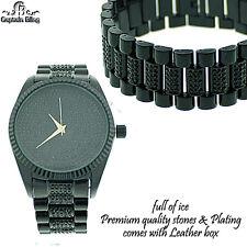 New Men's Hip Hop Watch Set New Designer Style Elegant Look Watch & Bracelet BLK