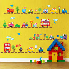 Animals Bus Cars Removable Wall Sticker PVC Mural Decals Kids Room Decor DIY