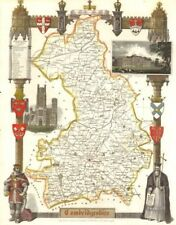 Cambridgeshire antique hand-coloured county map by Thomas Moule c1840 old
