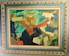 BIG 1960's Vintage Modern Abstract Cubist Oil Painting GREAT Color Brutalist
