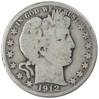 1912 S 50c Barber Silver Half Dollar US Coin Average Circulated