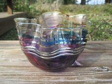 Scott Laura Curry Art Glass Bowl 1995 Handkerchief Ruffled Dish Gold Leaf Purple