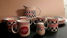1997 COCA-COLA CHECKERED PATTERN CHINA DINNERWARE SET 15 PIECES BY GIBSON