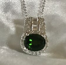 """3.65 Ct, Russian Diopside Pendant With White Zircon In Sterling Silver, 18"""""""