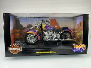 Hot Wheels 1999 Harley Davidson Softail, Purple w/Flames 1:10 Diecast Motorcycle