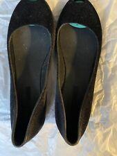 Melissa bajo Punta Abierta Zapatos-Reino Unido 6.5/UE 40 Negro Terciopelo
