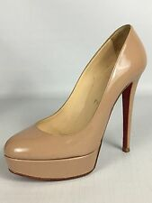 Christian Louboutin Bianca 140 Nude Patent Leather Platform Pumps 37.5 - $875