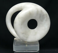 LARGE MODERNIST ABSTRACT MARBLE SCULPTURE SIGNED SMC on LUCITE BASE
