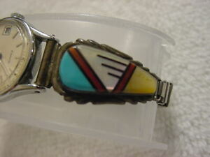 Vintage STERLING SILVER antique lady TURQUOISE Native American watch band