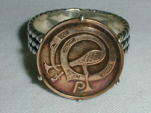 VINTAGE STERLING SILVER BRONZE IRISH COIN RING- SIGNED SW- SIZE 8 3/4!