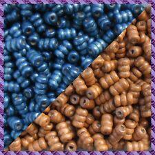 100 Perles Legno Tubo 2 coloris Marrone chiaro / Blu marino