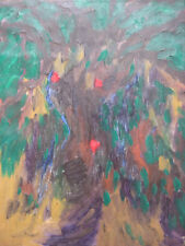 ABSTRACT EXPRESSIONIST LANDSCAPE OIL PAINTING SIGNED WONG YUN SANG ASIAN CHINESE