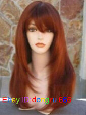 New Long copper Red Brown Cosplay Fashion Wig Women's Wigs + Wig cap  A124