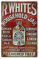 R. White Household Jar Ginger Beer  Reproduction Advertisement Sign