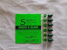 1/16 oz Brass Ticker & Glass Beads - Green