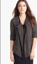 Sz PP Eileen Fisher Black Open Front Jacket With Leather Trim