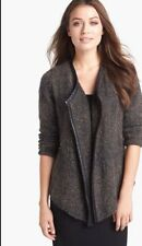 SZ PP EILEEN FISHER BLACK OPEN FRONT JACKET WITH LEATHER TRIM NWT $498