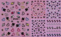 Rhinestones Black Flowers Butterfly Heart 3D Nail Art Stickers UV Acrylic Decals