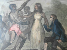 Gravure aquarellée femme sauvant la vie au chirurgien TONGA ile des amis XIXème