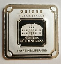 1 Oz .999 silver square bar Geiger Edelmetalle unique  art bar proof like.  New!